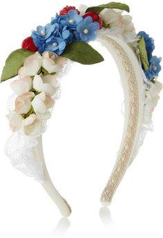 Dolce & Gabbana Embellished Silk and Cotton Blend Headband - Lyst