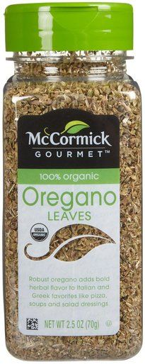 McCormick Gourmet Organic Oregano Leaves, 2.5 oz. McCormick Gourmet Organic Oregano Leaves is robust and adds bold herbal flavor to Italian and Greek favorites like pizza, soups and salad dressings. 1