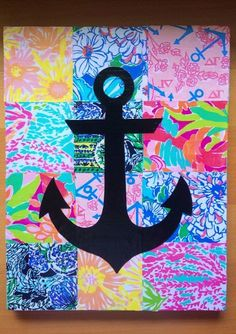 Anchor on Mod Podged Lilly Print on Canvas