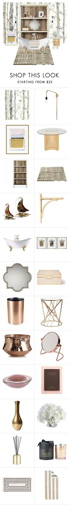 """Into The Woods Bathroom Interior Design"" by lua4lma ❤ liked on Polyvore featuring interior, interiors, interior design, home, home decor, interior decorating, RoomMates Decor, Menu, Williams-Sonoma and Safavieh"