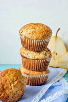 These spiced pear muffins are just the recipe you need to use those leftover fruits. They are moist, soft and fluffy and make an excellent snack or dessert.