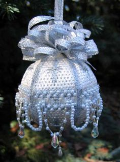"""Silver and Pearls 3"""" needlepoint Ornament"""