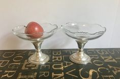 Two Frank M Whiting Glass Compote Bowls- Double as Candlesticks w/Sterling Silver Hollowware Gadroon Base, wedding gift, wedding decor by TheDustyWingVintage on Etsy New Martinsville, Silver And Glass, Candlesticks, Glass, Vintage House, Glass Dishes, Vintage Home Decor, Bowl, Bohemian Decor