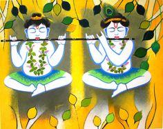 Krishna Painting Acrylic on canvas by ArtByRohini on Etsy