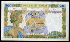 France (1942) 500 French Francs banknote Obverse: Bust of a Woman draped in a yellow & blue robes, crowned Laurel and Oak Leaf Wreath, holding an olive branch in her hand, symbolizing the peace. The vignette is surrounded by laurel leaves to flowers & olive trees, oak and wheat.  Reverse: Profile busts of a young man holding a tool on the shoulder of a young woman with ears of wheat and two daisies stuck in her hair, symbolizing the Agriculture and Youth