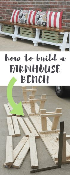 DIY Farmhouse Bench Tutorial With Storage Build this farmhouse bench with storage in 10 simple steps.Build this farmhouse bench with storage in 10 simple steps. Furniture Projects, Home Projects, Pallet Furniture, Bedroom Furniture, Ikea Furniture, Modern Furniture, Repurposed Furniture, Furniture Stores, Furniture Plans