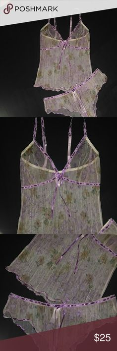 NWOT 2 PC SHEER, SEXY LINGERIE Sheer, lightly textured matching CAMISOLE & PANTY. Purple Satin Ribbon outines the waist, bodice and straps. Ivory color with Lavender Flowers NEVER WORN! SECRET Treasures Intimates & Sleepwear