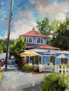 There's a little eatery right off the bay in Fish Creek, WI called Summertime Cafe. Fish Creek is a quaint town in Door County, Wisconsin. Quite the tourist area in summer and Fall. I ate at here and as I left I snapped a photo and knew I had to paint it. Oil 11x14. SOLD.