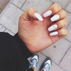// Nail inspiration // Coffin shape white nails | Nails | Pinterest | White Nails, Nails and Gold Stripes
