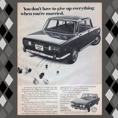 1970 Alfa Romeo 1750 Berlina Getting Married Vintage Ad from West Coast Vintage for $10.00 on Square Market