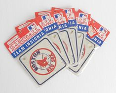 Vintage Boston Red Sox Signs with Suction by LobsterBisqueVintage