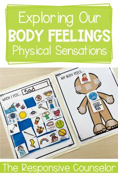 Teach your elementary students how to identify how their bodies feel when they experience different emotions. It's important for students to be aware of these physical signs, because it helps students with self-regulation. Group Therapy Activities, Emotions Activities, Mindfulness Activities, Learning Activities, Activities For Kids, Emotional Regulation, Self Regulation, Different Emotions, Social Emotional Learning