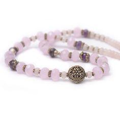 Colier handmade din cuart roz  si argint