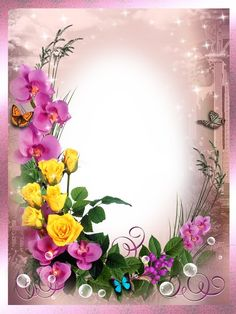 Frames for photoshop - In the world of flowers Flower Picture Frames, Flower Frame Png, Flower Art, Birthday Photo Frame, Birthday Frames, Flower Backgrounds, Flower Wallpaper, Molduras Vintage, Foto Frame