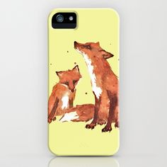 Lemon Foxes iPhone & iPod Case by Eastwitching - $35.00 2 red foxes against yellow background