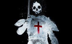 skulls cross knights artwork black background Alex Cherry wallpaper background