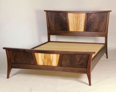 Another commissioned piece where I was given considerable latitude with respect to design. I had for some time been wanting to build a piece with an arched foot on an outward leaning leg. Art Deco Furniture, Wood Furniture, Bedroom Furniture, Furniture Design, Bedroom Decor, Sillas Wingback, Plywood Bed Designs, Platform Bed Designs, Plywood Chair