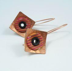 amazing handmade copper jewelry / Red stripe copper squares 3
