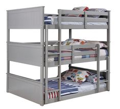 Furniture of america Therese collection triple full bed full over full over full gray finish wood bunk bed Cool Bunk Beds, Bunk Beds With Stairs, Twin Bunk Beds, Kids Bunk Beds, Solid Wood Bunk Beds, Ideas Habitaciones, Triple Bunk Beds, Trundle Bed With Storage, Kids Toddler Bed