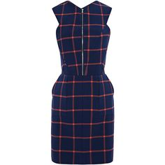 Thakoon Addition Plaid Suiting Cutout Back Dress (€585) ❤ liked on Polyvore featuring dresses, cutout back dress, tartan dress, back zipper dress, open back zipper dress and cut out back dress