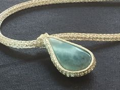 Larimar cab wire weave on Viking knit necklace. Www.perfect-duo.com
