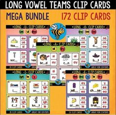 Long Vowels Clip Cards Mega Bundle (172 task cards):This is a discounted, BUNDLED pack of my 5 products:1.  Long I Clip Cards (ie, igh, y sounds like i)This is a set of 28 long -i- Clip Cards2. Long A Clip Cards (ai, ay)This is a set of 28 long -A- Clip Cards3.