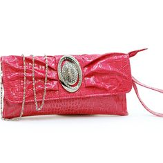 """- Made of high quality leather-like material- Front flap with magnetic snap closure- Detachable chain with 22"""" drop length- Fully lined inside interior includes inside zippered pocket- Removable 5"""" length wristlet $66.60"""