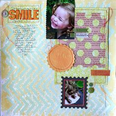 Love the unusual arrangement on this layout by Doris Sander