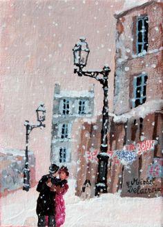 """Michel Delacroix """"La demande en mariage"""" - Acrylic on Board x Paris Painting, Painting Snow, Winter Painting, Illustrations, Illustration Art, Delacroix Paintings, Paris Snow, Christmas In Paris, Art Folder"""