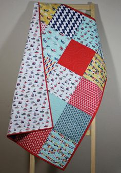 Modern Baby Boy Quilt Fly Aweigh Planes Boats by camnlulu on Etsy