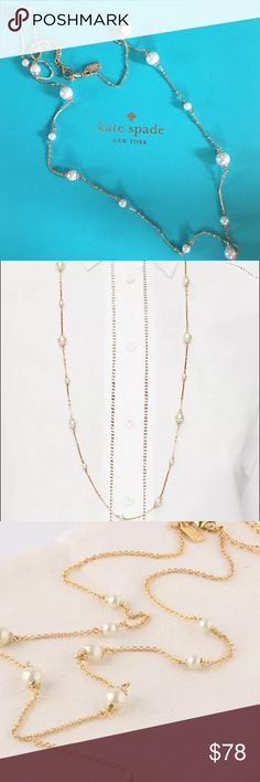 New Kate Spade Pearls of Wisdom Scatter Necklace KSNY PEARLS OF WISDOM' SCATTER LONG NECKLACE  Style No. WBRUC214 Retail Price $128.00 + tax  KATE SPADE FUN, CLASSIC & ELEGANT;FOR CASUAL EVERYDAY WEAR. FEATURES GLASS PEARLS ALONGSIDE SPARKLING STONES AND DELICATE GOLD CHAIN, FOR A LOOK THAT'S LADYLIKE BUT ALSO VERSATILE.    shiny 12-karat gold plated metal with glass stones and glass pearls lobster clasp closure with mini kate spade hangtag, extender and golden spade approx. 34 inches length…