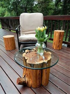 Beautiful Rustic Wood Outdoor Patio Furniture Design 62 - TOPARCHITECTURE #RusticLogFurniturewoodslices