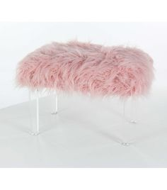 Fluffy Pink Faux Fur Footstool Bench Acrylic Legs