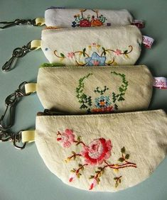 for using vintage linens. Jenny of ELEFANTZ: Ideas for using vintage linens.Jenny of ELEFANTZ: Ideas for using vintage linens. Fabric Crafts, Sewing Crafts, Sewing Projects, Embroidery Transfers, Hand Embroidery, Embroidery Ideas, Embroidery Stitches, Embroidery Sampler, Embroidery Fashion