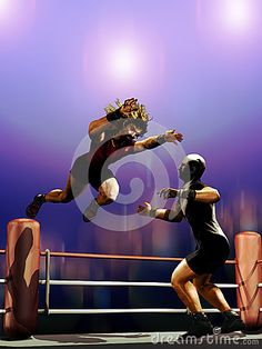 Two men fighting on a ring, while one of them is jumping on the other.