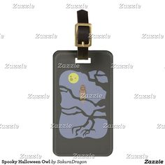 Spooky Halloween Owl Bag Tag #halloween #bats #moon #animals #wings