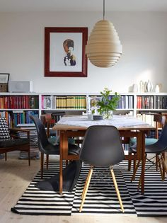 Ikea 'Billy' bookcases & 'Stockholm' rug