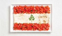 So cool! Lebanese Flag made of Lebanese bread, some tomatoes and cucumber and parsley! Almost like a Tabbouleh.