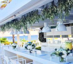 Wedding Venue Decorations, Wedding Venues, Table Decorations, Greece Wedding, Wedding Bouquets, Leaves, Flowers, Furniture, Home Decor