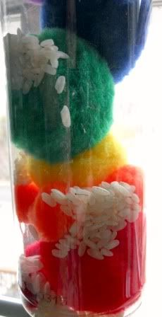 Rain Maker-clear plast container-colored pom poms and rice :-)
