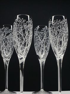 Tree Of Love . 4 Champagne Glasses . Hand Engraved Clear Crystal Glass . Bridal Party Gift . Wedding Flutes Take 15% OFF At Checkout on Etsy, $112.00