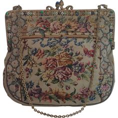 "Petit Point Purse With "" Jeweled "" Frame , Circa 1930 from vignette on Ruby Lane"