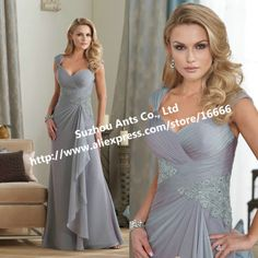 Good Selling A Line Pleated Appliques Long Chiffon Silver Grey Mother Of The Bride Dress MD518 $134.85
