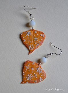 SNOWY SUNSET | Polymer clay leaf earrings with delicate faux embroidery. By Rory's Bijoux