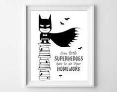 Kids Illustration. Kids poster. Batman art. Boys por MotifVisuals