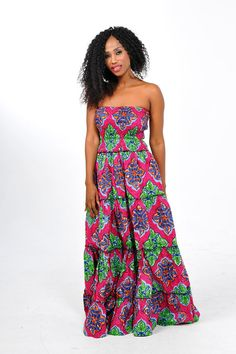 African Print maxi Dress with matching scarf by Bongolicious1, $69.99