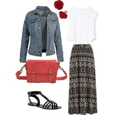 Patterned maxi skirt, plain white tshirt and cropped denim jacket great for a casual day out. Black sandals red cross body bag for colour and cute earrings. Plus size ideas, summer spring outfit, travel clothes