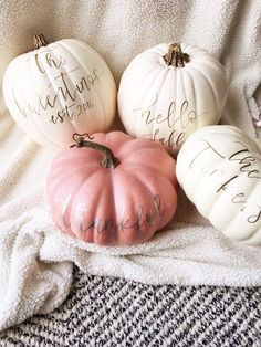 Custom craft pumpkins, perfect for fall decor! Decorate your home for the fall season, with one of our personalized pumpkins. Each pumpkin will be hand lettered with the a name or short phrase of your choice-- and can fit up to five words! White Pumpkin Decor, Pumpkin Colors, Diy Pumpkin, Pumpkin Crafts, Pumpkin Carving, Pumpkin Painting, Pumpkin Ideas, Pumpkin Recipes, Foam Pumpkins