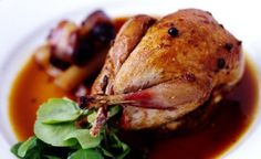 roasted partridge with pear sauce