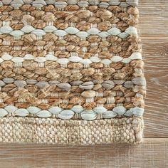8 feet 10 inches x 11 feet 9 inches. Constructed from cotton and jute. Finished in beige, blue and ivory. Hand woven in India; Additional size options available. Jute Rug, Woven Rug, Tufted Headboard Queen, Shabby Chic Grey, Solid Rugs, Natural Area Rugs, Natural Rug, Wool Pillows, Textiles
